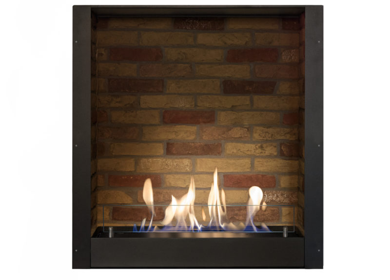 Built-in unit L with stone decor, built-in fire