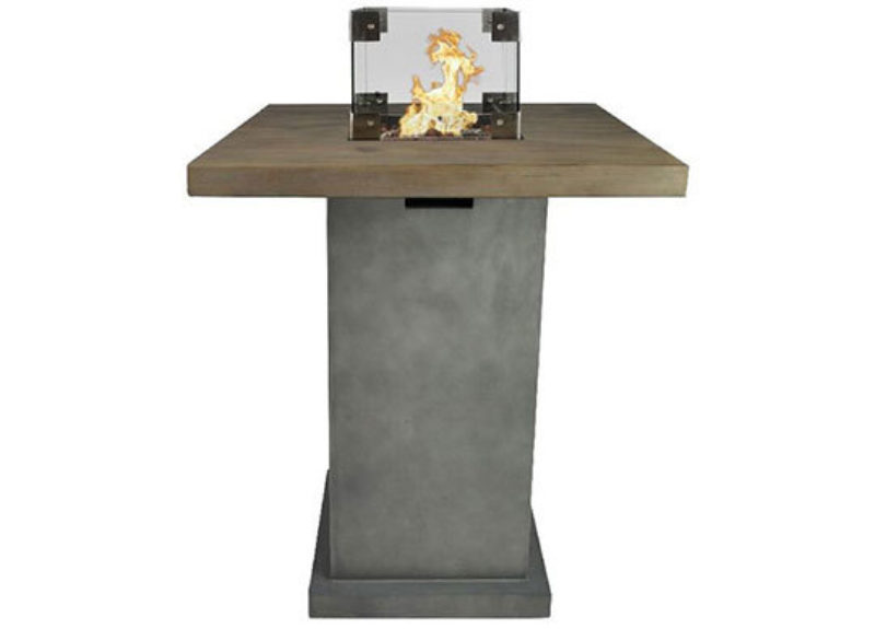 Zeus standing table with gas fire in concrete look